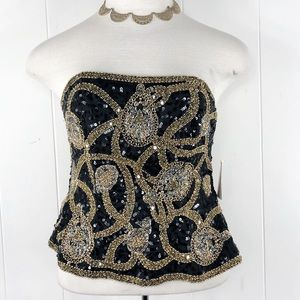 OLEG CASSINI Silk Top Strapless Beads Sequins